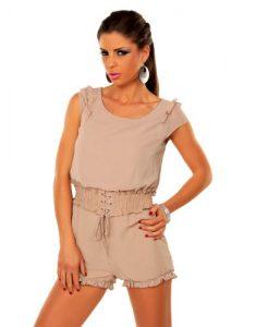 Sexy-Damen-Overall-Jumpsuit-Hotpants-Kurz-Neu-Chiffon-mit-Volant-12090-SM-3436-Beige-0-1