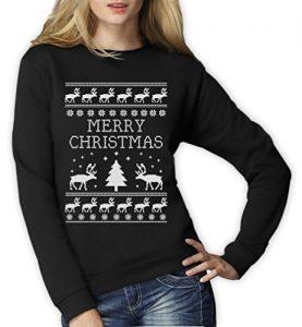 Merry-Christmas-Reindeer-Christmas-Tree-Rentier-Baum-Frauen-Sweatshirt-Small-Schwarz-0