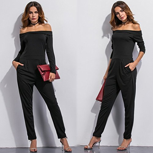 damen jumpsuit ecowish langarm hosenanzug jumpsuit damen elegant. Black Bedroom Furniture Sets. Home Design Ideas