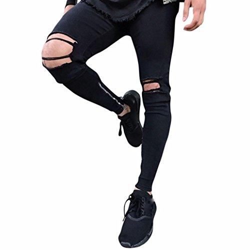 Qmber Jeans Herren Slim Fit Schwarze Skinny Destroyed Hose Herren ... aa2e2a4371